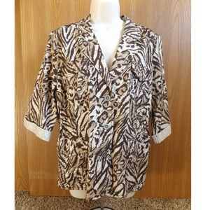 Animal Print 3-button Blazer Jacket